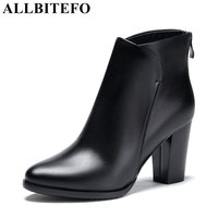 ALLBITEFO thick heel genuine leather women boots fashion winter high heels platform ankle boots girls motorcycle boots shoes
