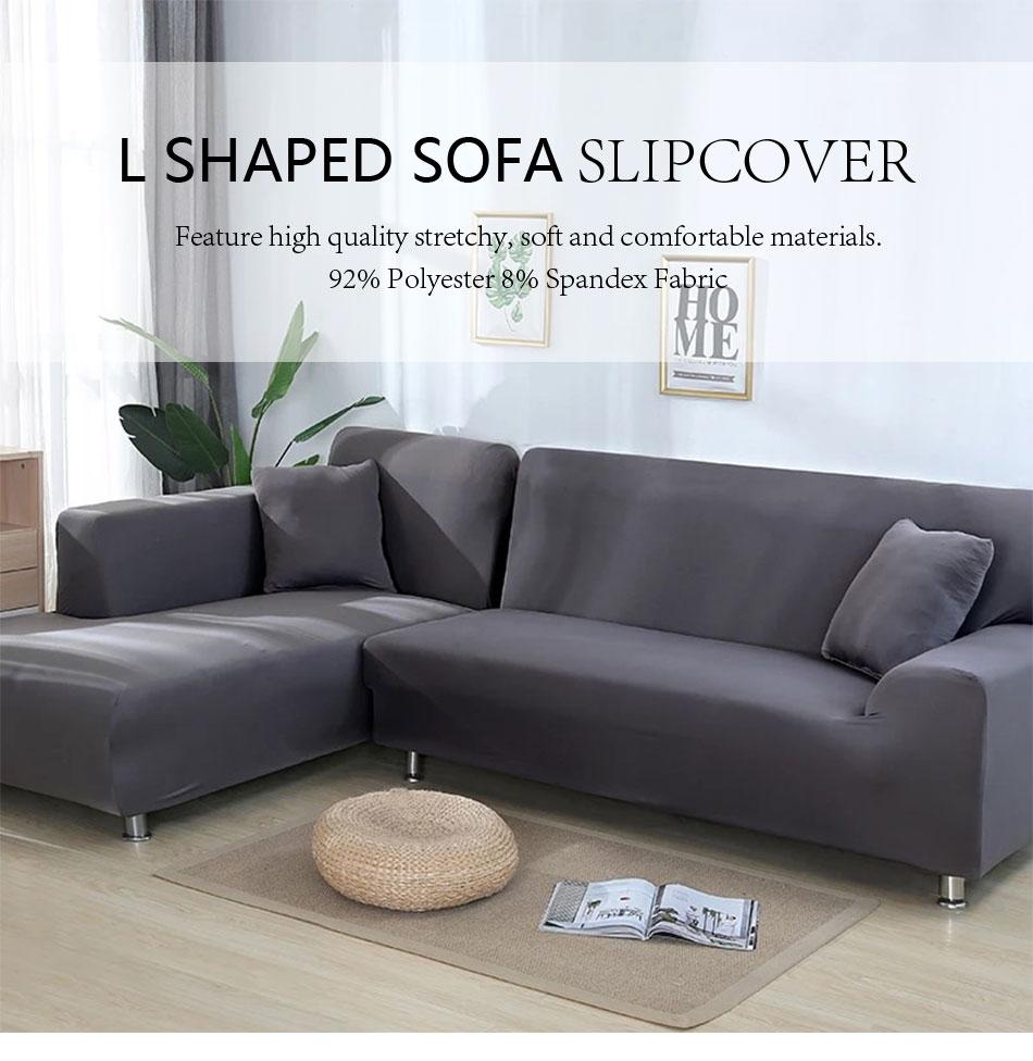 2 Pcs L Shaped Sofa Cover Corner Couch Slipcover Stretch Furniture