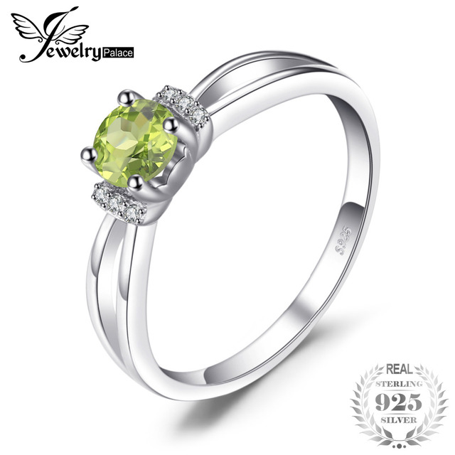 JewelryPalace Birthstone 0.6ct Round Natural Peridot Wedding Engagement Annivers