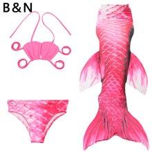 3 Pieces Swimming Suit Mermaid Fish Tail Dress Girl Swim Set Top Pants Fins Dive Wear Teens Dance Show Performance 110cm-150cm