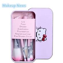 Новинка, набор мини кистей для макияжа hello kitty, 7 шт./лот, косметический набор, набор кистей для макияжа с металлической коробкой