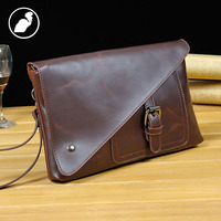 ETONWEAG New 2017 Men Famous Brands Cow Leather Vintage Day Clutch Bags Phone Bags Brown Fashion