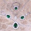 Criado verde Esmeralda Branco Topaz 925 Sterling Silver Jewelry Sets Brincos de Pingente tocar Para As Mulheres Tamanho 6/7/8/9 S0838