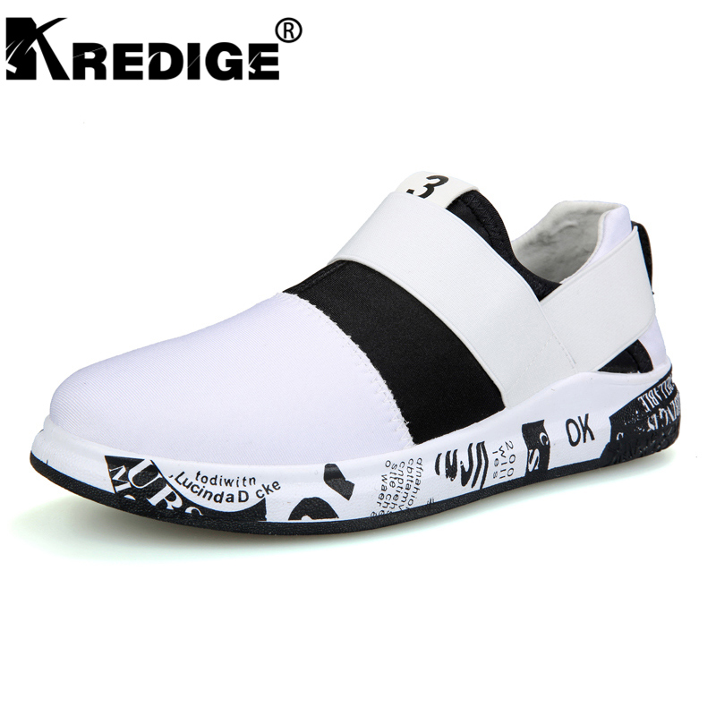 KREDIGE Stretch Fabric Casual Shoes Mens Breathable Canvas Non-Slip Soles Shoes Hard-Wearing Slip-On Men Shoes Big Size 39-44 kredige anti odor zip tide leather shoes hard wearing mens casual shoes pu breathable waterproof plate shoes british style 39 44