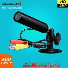 New Super HD AHD 3MP CCTV Mini 1920*1080 P Impermeable de Vigilancia Micro Pequeño a prueba de Vandalismo de Metal Negro Cámara de Seguridad de bala