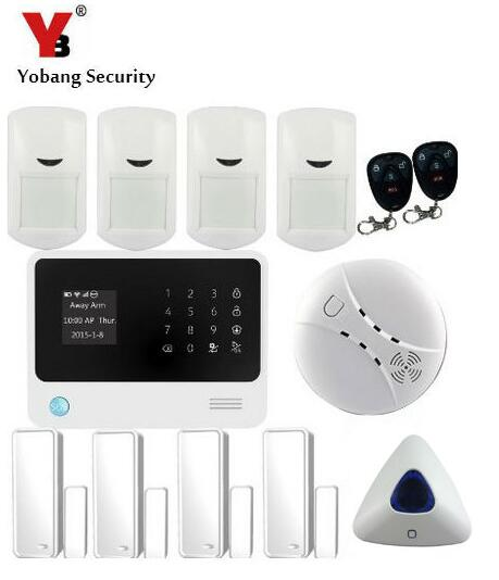 YobangSecurity Home Protection Wifi Wireless Alarm System Touch Screen GSM Alarm System with Door/Smoke Sensor PIR Detector 1set home security protection gsm sms wireless alarm system pir motion detector smoke alarm magnet door sensor wireless siren