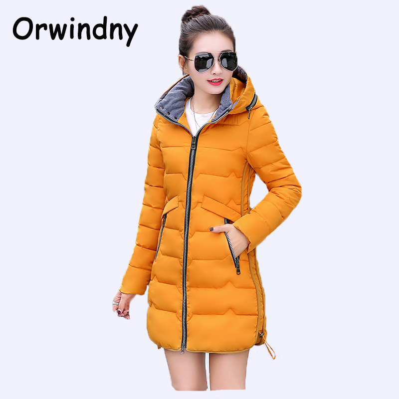 Orwindny 2018 New Plus Size M-5XL Winter Cotton Women Medium Long Female   Parkas   Thick Warm Clothing Hooded