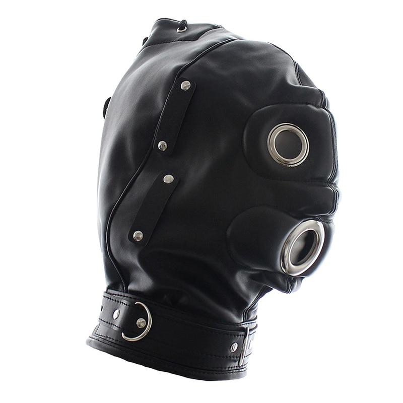 Голова Кожа жгут полиуретановая маска капюшон рот Даг БДСМ костюм фетиш бондаж регулируемый - Цвет: PG0164