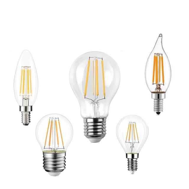 LED Filament Bulb E27 Retro Edison Lamp 220V E14 Vintage Candle Light Globe Chandelier Lighting COB Filament Home Decoration