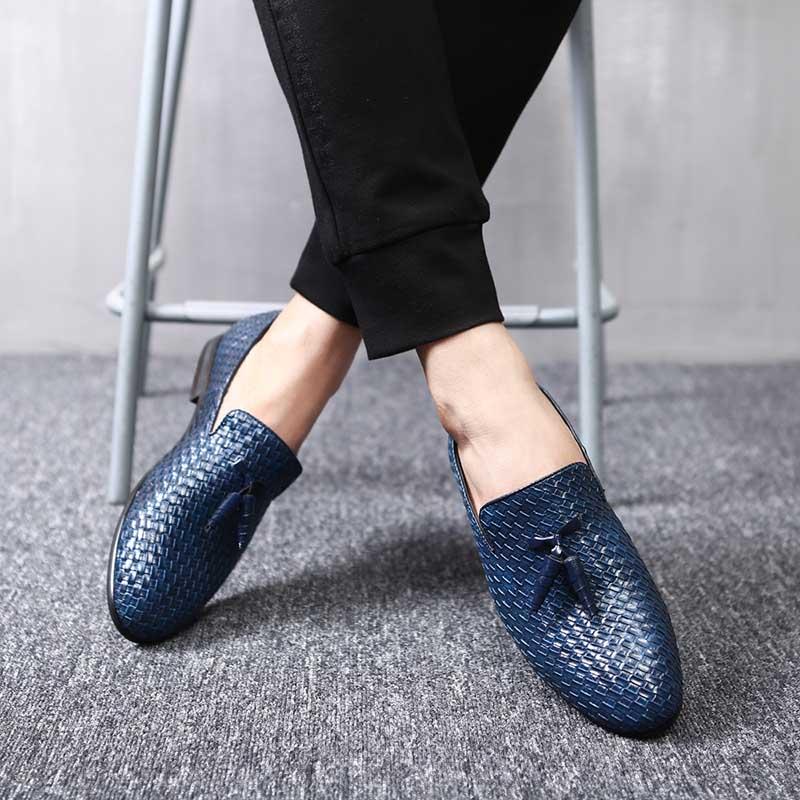 Formelle Hombre bleu Noir Zapatos Mode Oxford Pour Chaussures Marque Cuir De En Tissage Ww Classique Robe Hommes Luxe Mariage gris Masorini 560 YxwRq7O0x