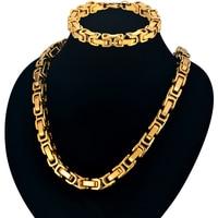 Classic Byzantine Chain Bracelet And Necklace Set For Men Wholesale Nigeria Gold Color African Dubai Fashion Men Jewelry Sets