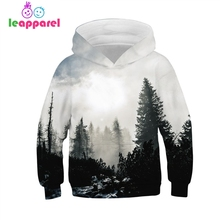 Long Sleeve Hooded Foggy Forest 3D Print Kids Children Clothes Hoodies Girls Sweatshirts For Boys Funny Pullovers Jacket Coat s kids bing bunny cartoon print hoodies coats for boys girls rabbit long sleeves hoody sweatshirts for children costumes