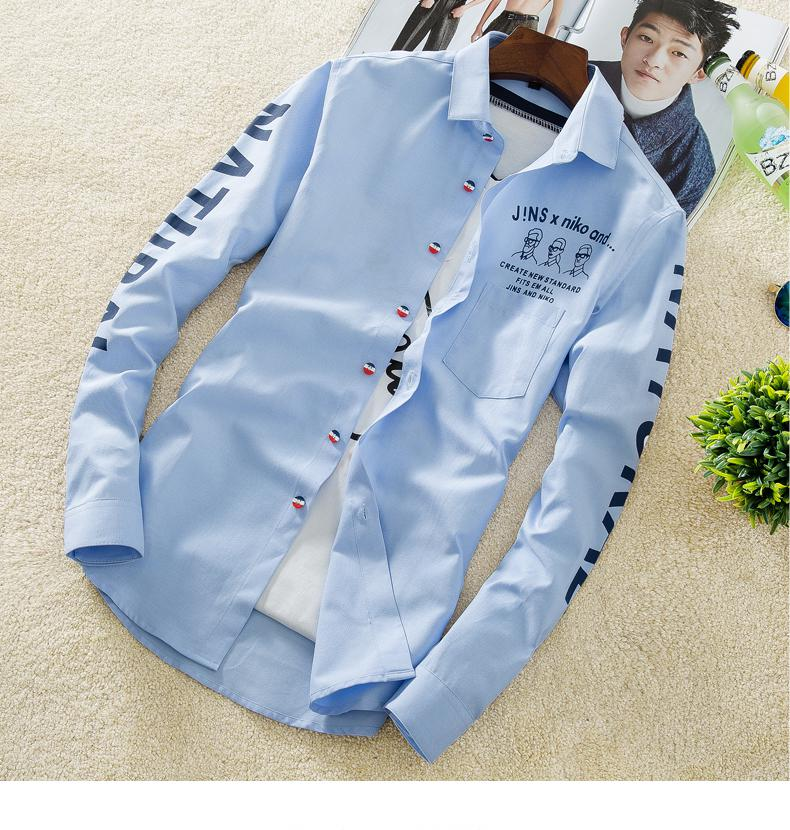 YAUAMDB men shirt 2017 autumn winter size M-4XL cotton male letter long sleeve shirt slim casual turn-down collar clothing y43 14