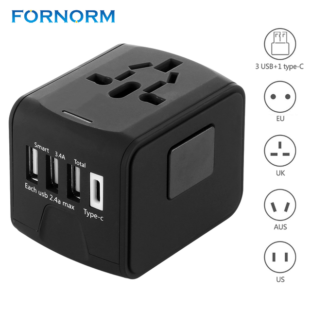 84b2ddfd461948 FORNORM International Travel Adapter All-in-one Universal Power Adapter with  2.4A 3 USB Port Wall Charger for UK/EU/AUS/US Phone