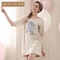 Qianxiu Девушка Ночная Рубашка До Колен Sleepskirt для женщин Модальные Хлопок Ночное Коротким wleeve Sleepskirts для женщин