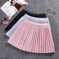 2017 Fashion girls skirts pleated schoolgirls skirt uniforms high waist pleated skirt female Black Grey Pink mini skirt