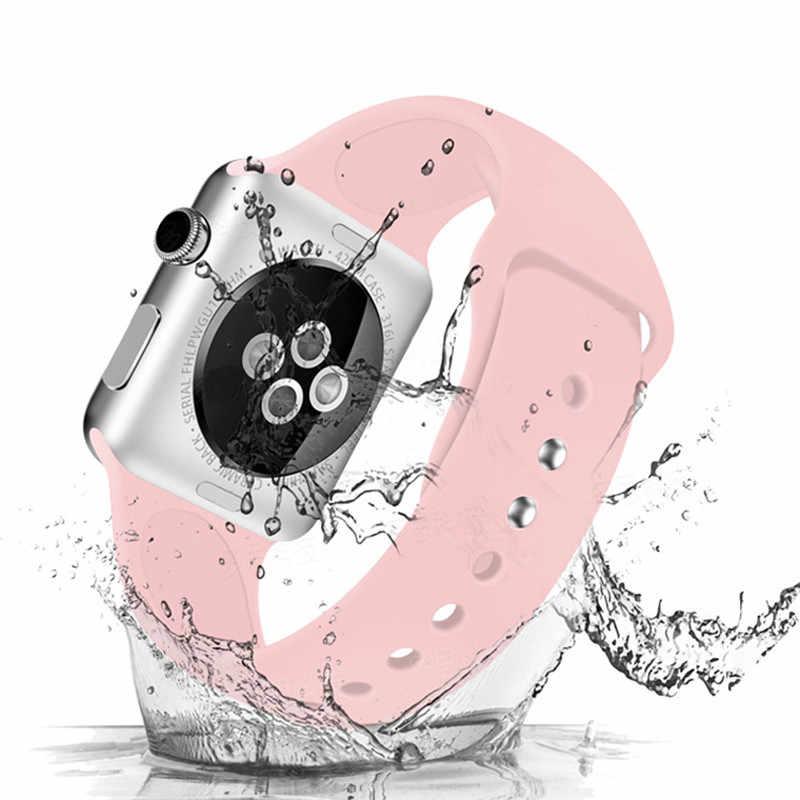 Tali untuk Apple Watch Band 38 Mm 42 Mm IWatch 4 Band 44 Mm 40 Mm Olahraga Silikon Gelang Sabuk apple Watch 5 4 3 2 Aksesoris Tali