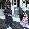 Новая зимняя девушка пуховики Девушка долго женский большая девочка детская одежда 2016 новый толстый слой верхней одежды с капюшоном меховой воротник куртка