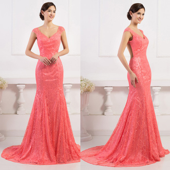 Pretty Cheap 2016 New Lace Red champagne Trumpet / Mermaid Long Evening Dresses V-Neck Prom dresses Custom sizes Free shipping