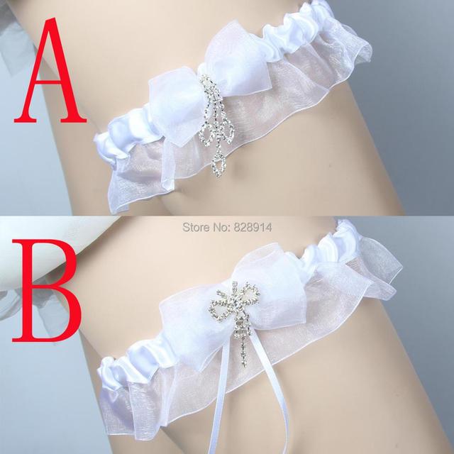 Lowosaiwor Factory Whole White Ribbon Elastic Wedding Garter Belt Set Bride Leg Handmade
