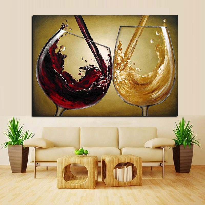 3D Hand Painted Canvas Wine Oil Paintings Red Wine Glass Modern ...