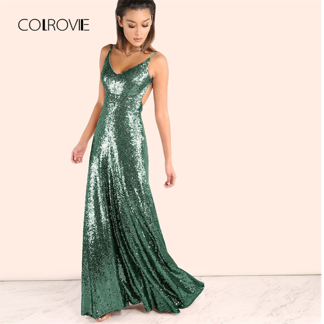 COLROVIE Green Solid V-Neck Backless Winter Sequin Long Party Maxi Dress  Women 2018 Sleeveless Zip Vestido Slim Cami Sexy Dress be8f6219992a