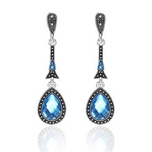 Trendy Water Drop CZ Crystal Earrings For Women Vintage Silver Color Wedding Party Earrings Jewelry brinco feminino Gift(China)
