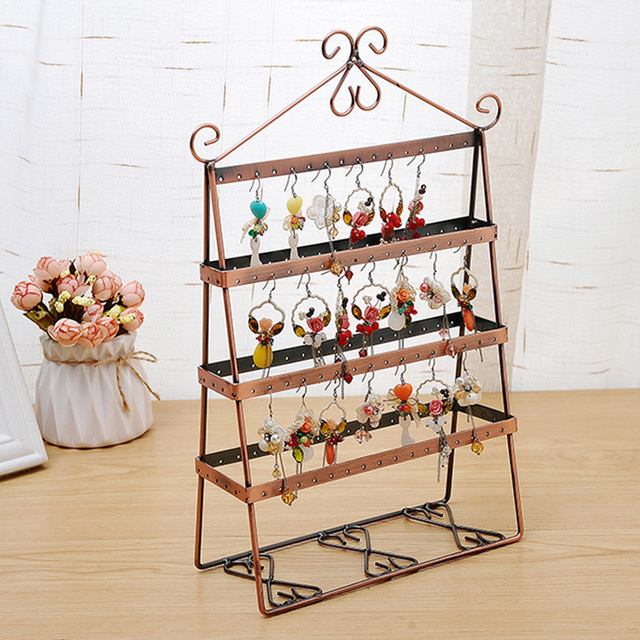 Metal Jewelry Display Shelf Organizer Earring Holder Pesentoir Fashion Earrings Rack Etagere Bronze