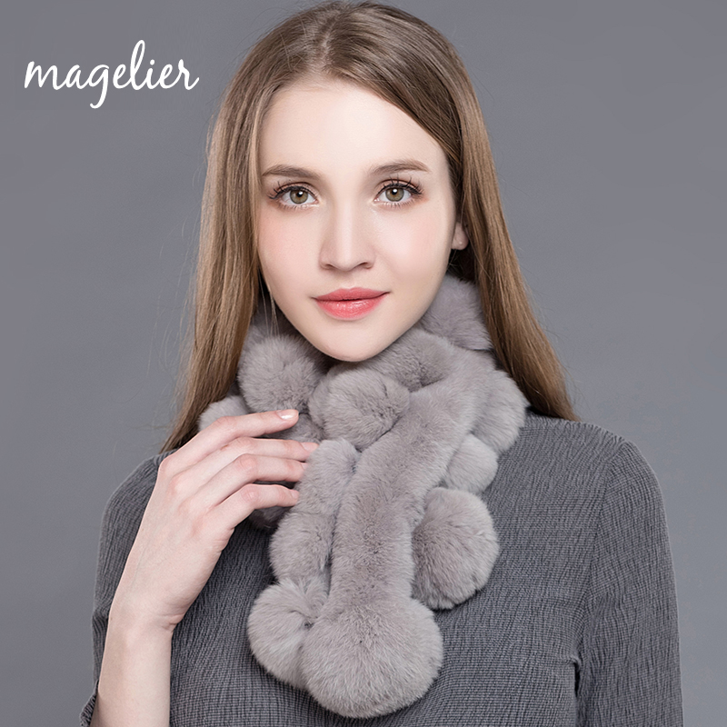 Magelier Real Fur Scarf for Women Winter Natural Rex Rabbit Fur Big Long Scarves Thick Warm Fashion Brand New Arrival WJ003