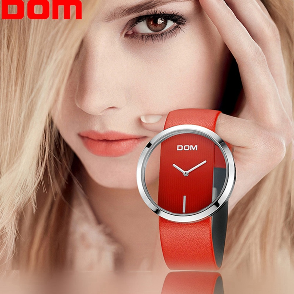 DOM женские часы минималистичные простые Стильные Водонепроницаемые кожаные кварцевые Элегантные Роскошные наручные часы reloj feminino LP-205L-4M