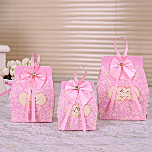 50pcs Pink Candy Boxes Party Favors Wedding Box Sweets Party Favour