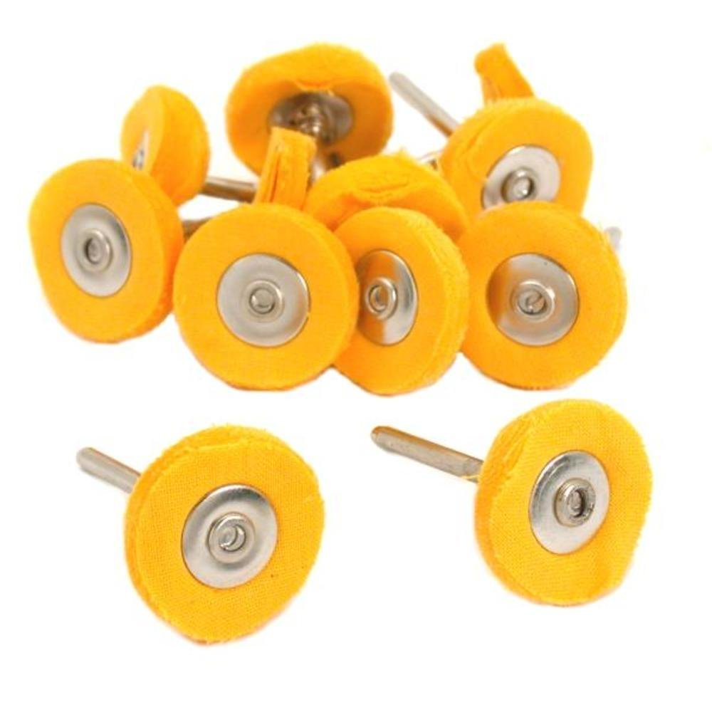 20 Pcs Yellow Muslin Jewelry Metal Polishing Buffing Wheel Brush , 1/8