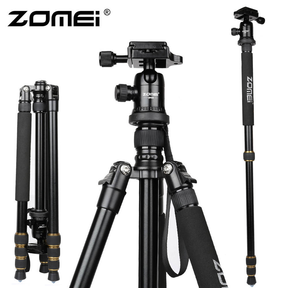 New Zomei Z688 Aluminum Professional Tripod Monopod + Ball Head For DSLR Camera / Portable SLR Camera stand / Better than Q666 new zomei z688 aluminum professional tripod monopod for dslr camera with ball head portable camera stand better than q666