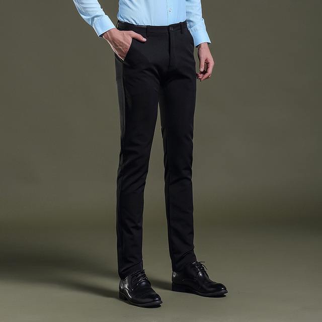 Mens Black Dress Pants Formal Slim Fit Wedding Men Suit Business Casual