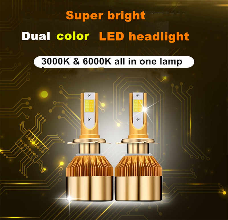 Elgux H7 COB LED Headlights Bulbs 3000K 6000K 9600LM All In One Car LED Headlight Bulb Automobile Head Lamp 12V White Yellow