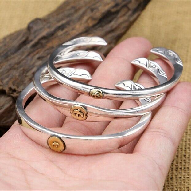 100% реальные твердых стерлингового серебра 925 twin-Орел манжеты браслет Для мужчин Для женщин Одежда высшего качества дизайнерские украшения ...
