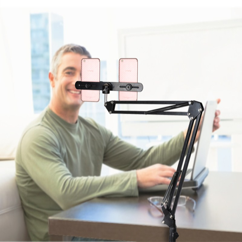 Lightupfoto Suspension Arm Stand Clip Holder and Table Mounting <font><b>Clamp</b></font> Pop+<font><b>Phone</b></font> Clip Bracket Kits for Entertainment/Live Video
