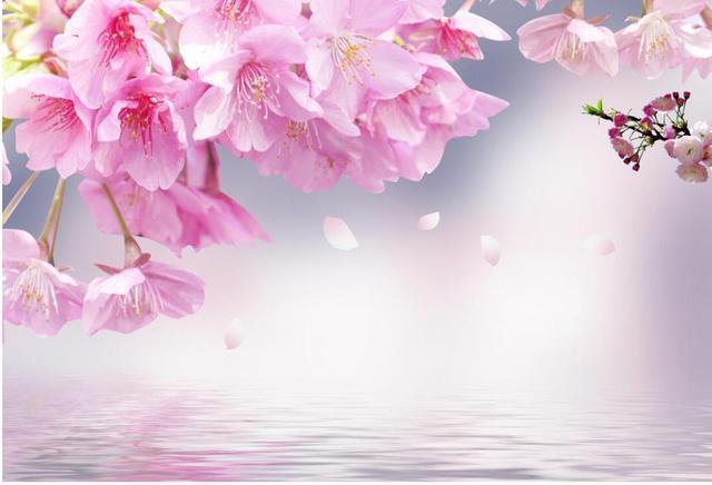 Buy pink cherry blossoms 3d wallpaper for Cherry blossom mural wallpaper