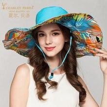 Charles Perra Women Sun Hat Summer Big Brim Sunscreen Anti-UV Fashion Elegant Butterfly Knot Lady Hats Vacation Beach Cap 2034