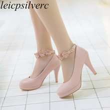 Women Pumps Shoes Super High Heel Pu Flower Platform Buckle 2018 Sexy Fashion Sweet Casual Party Wedding Pink Beige Black White free shipping italy shoes and matching bag set for women for wedding party pink pu size 38 43 no gf13 pink