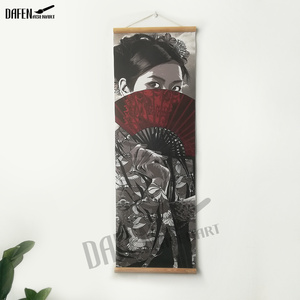 Image 4 - Japanese Samurai Scroll poster Canvas Print Poster with Wooden Hanger Wall Art Living Room Bedroom Home Decor scroll painting