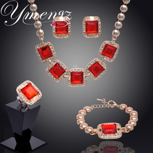 YMENGZ Brand Trendy 3 Colors Square Pendant Jewelry Stes Gold Color Crystal Necklace Earrings Bracelet Rings