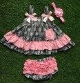 2016 лето бесплатная доставка лето девушки бутик устанавливает детские девочка детская одежда стрелка розовый серый качели вершины соответствующими с бантом