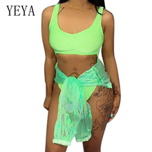 YEYA Women Summer Sexy Hollow Out Sleeveless Bodysuits 2 Pieces Sets with Coat Elegant Casual Beach Party Playsuits Femme