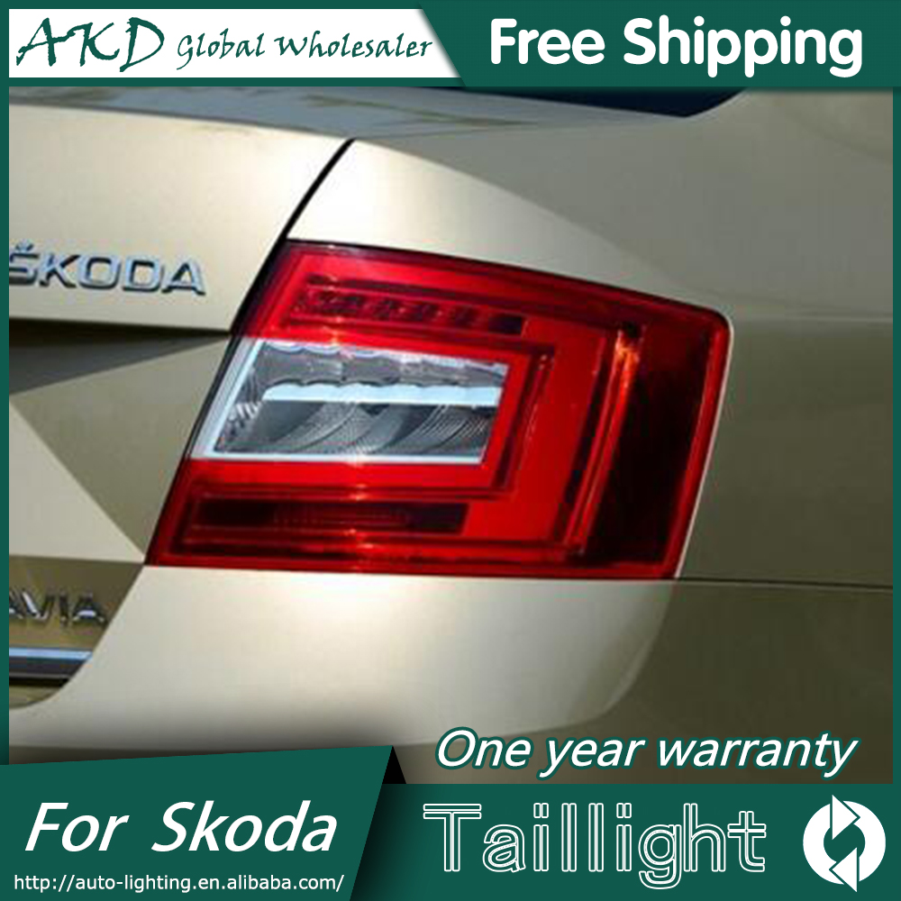 AKD Car Styling for Skoda Octavia Taillight 2014-2015 New Octavia LED Taillight LED DRL Bi Xenon Lens High Low Beam Parking skoda mqb octavia 4pcs high quality stainless steel car glass elevator button box for octavia a7 2014 2015