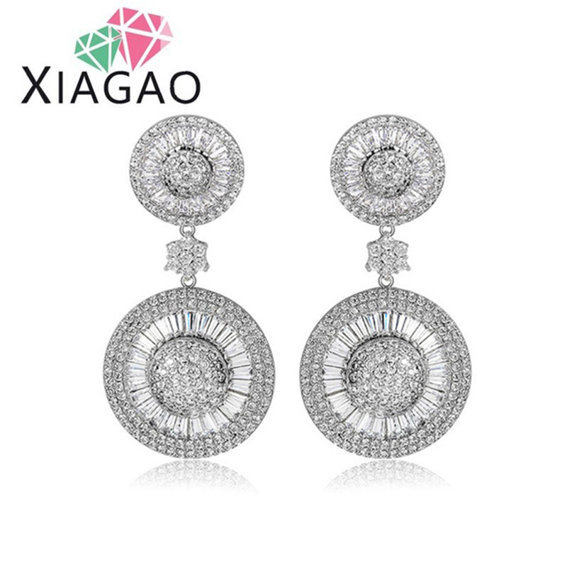 XIAGAO Delicate font b Luxury b font Sparkling Cubic Zirconia Statement Brincos Dangle Earrings For Women