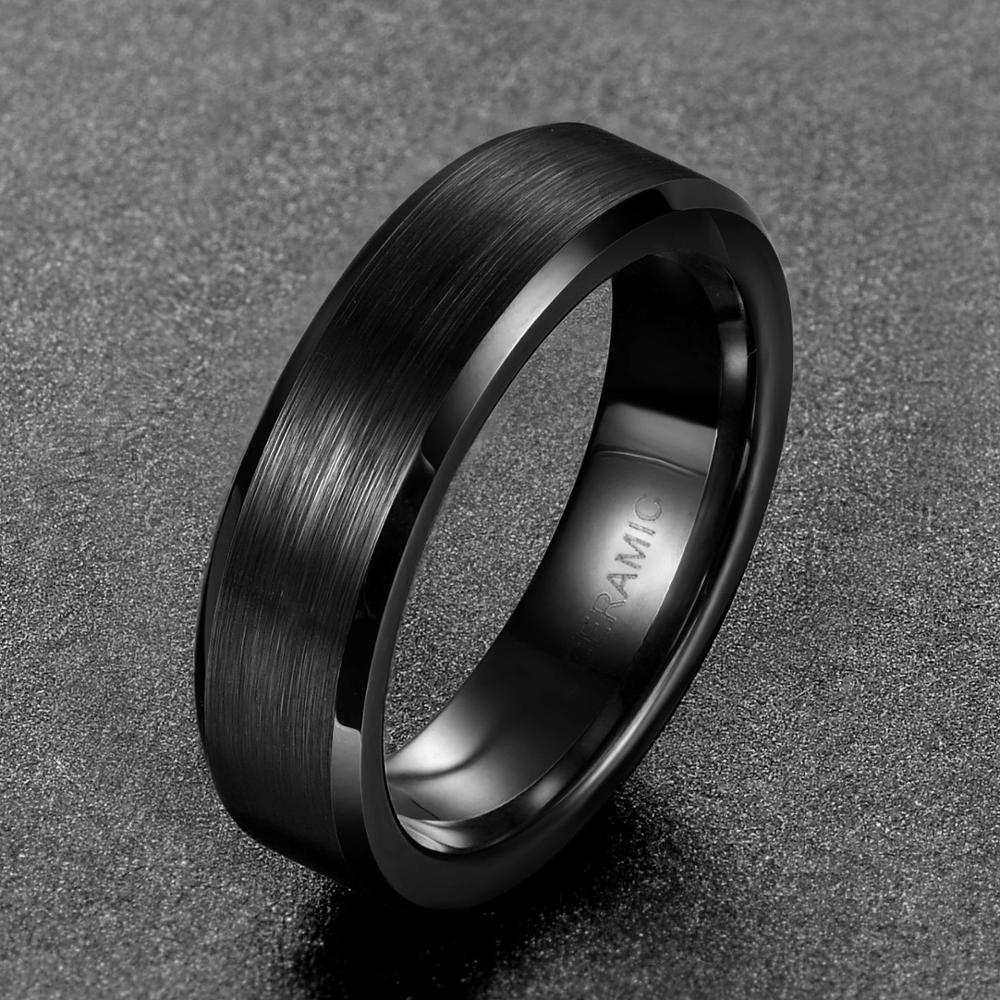 TIGRADE 6mm Black Brushed Brand Ceramic Ring Men Wedding Wedding Engagement Rings Untuk Wanita Keselesaan Fit