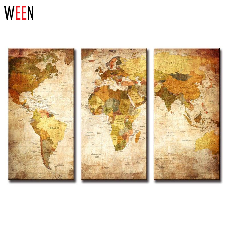 3 Panels World Map Wall Pictures For Living Room Modern Canvas Print ...