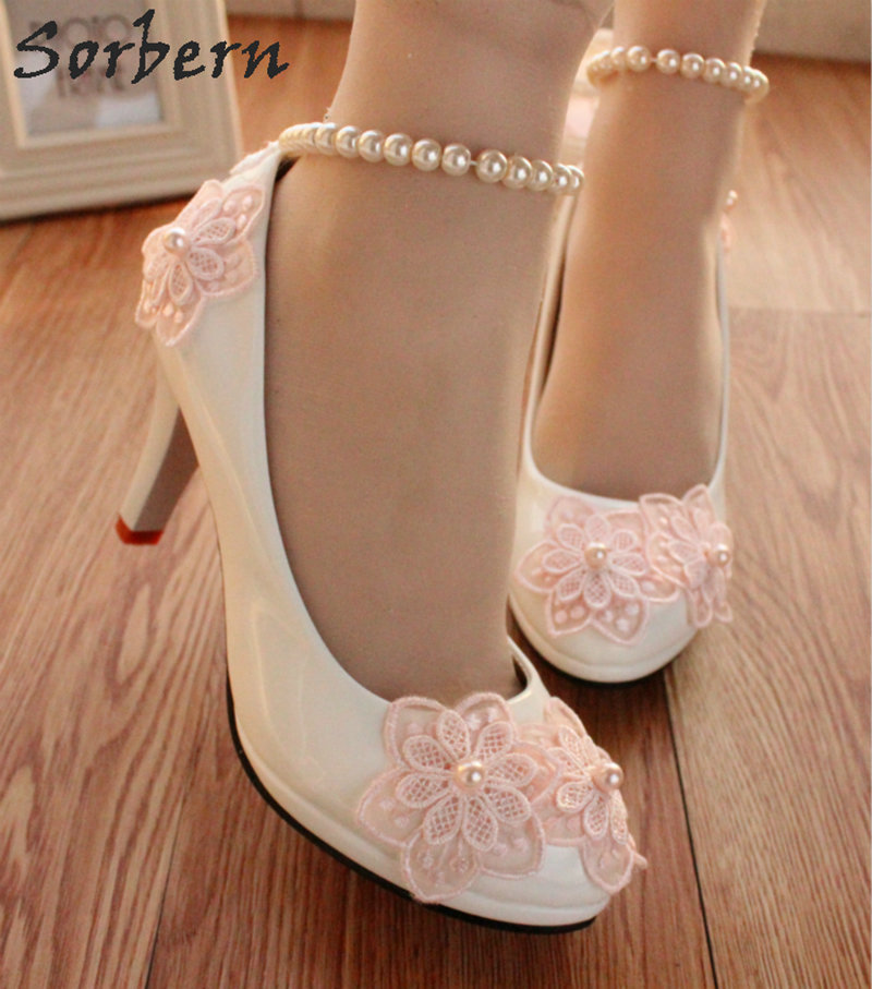 Sorbern Pink Flowers Beading Straps Wedding Shoes White Heels 3Cm/5Cm/8Cm Ladies Pump Shoes Women New Style Bride Shoes-in Women's Pumps from Shoes    1