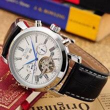 JARAGAR Reloj de pulsera mecánico para Hombre, cronógrafo completo, correa de cuero, Erkek Saati, masculino